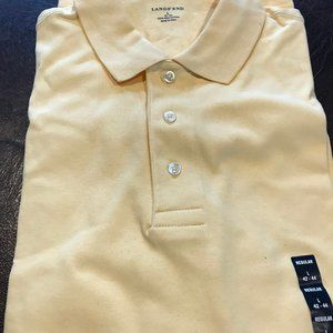New! Lands End LS Polo shirt. Yellow. L